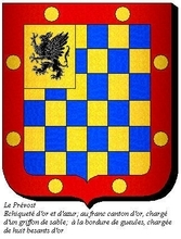 Echiqueté d'Or et d'Azur,au franc canton d'or,chargé d'un griffon de sable,à la bordure de gueule,chargé de huit besants d'Or.