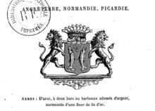 Armes d'Azur, à deux bars ou barbeaux adossés d'argent, surmontés d'une fleur de lis d'or