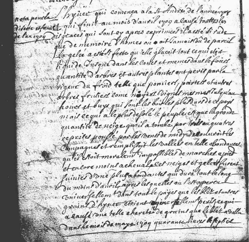 Réçit de l'Hyver 1709