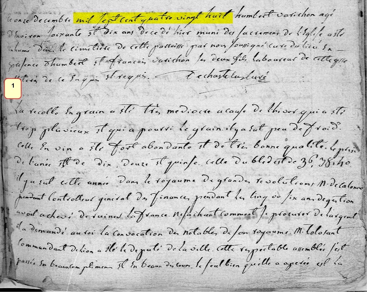 Chronique de l'année 1788