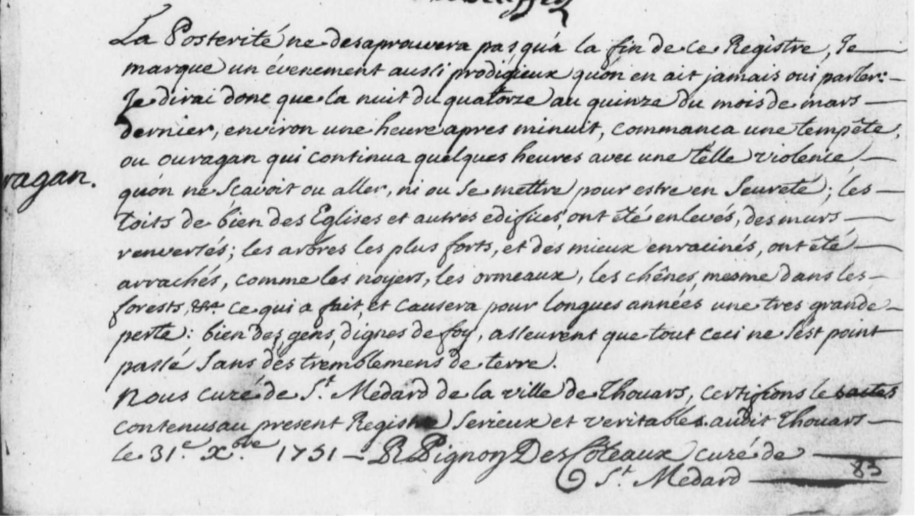 Ouragan à Thouars dans la nuit du 14 au 15 mars 1751