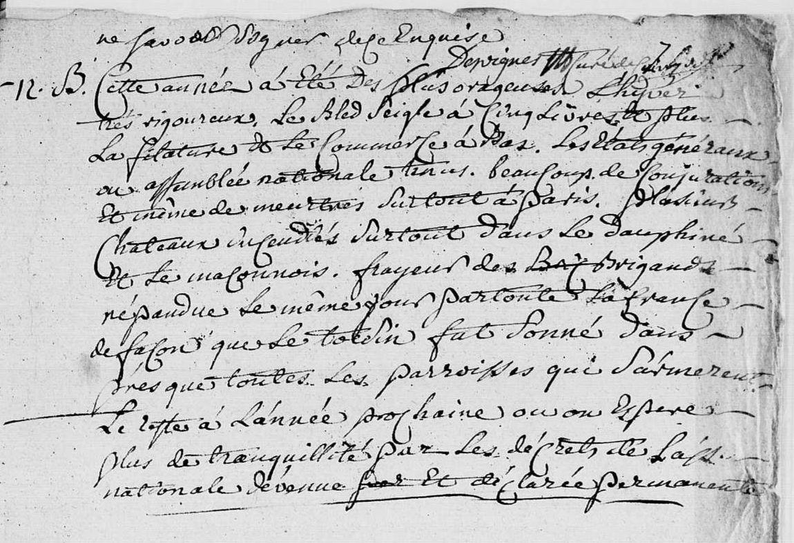 Chronique de l'année 1789