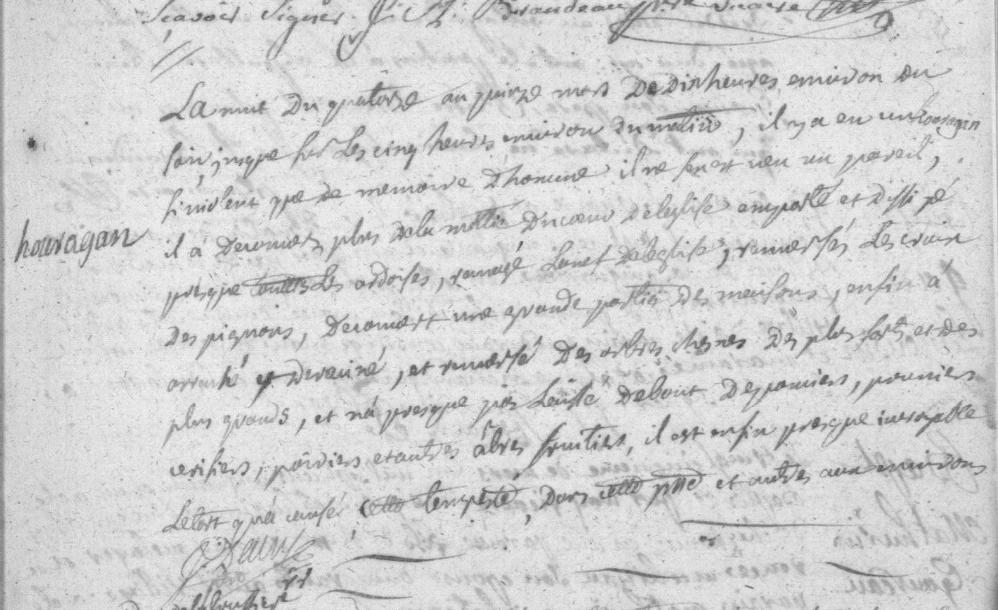 Ouragan à La Bruffière dans la nuit du 14 au 15 mars 1751