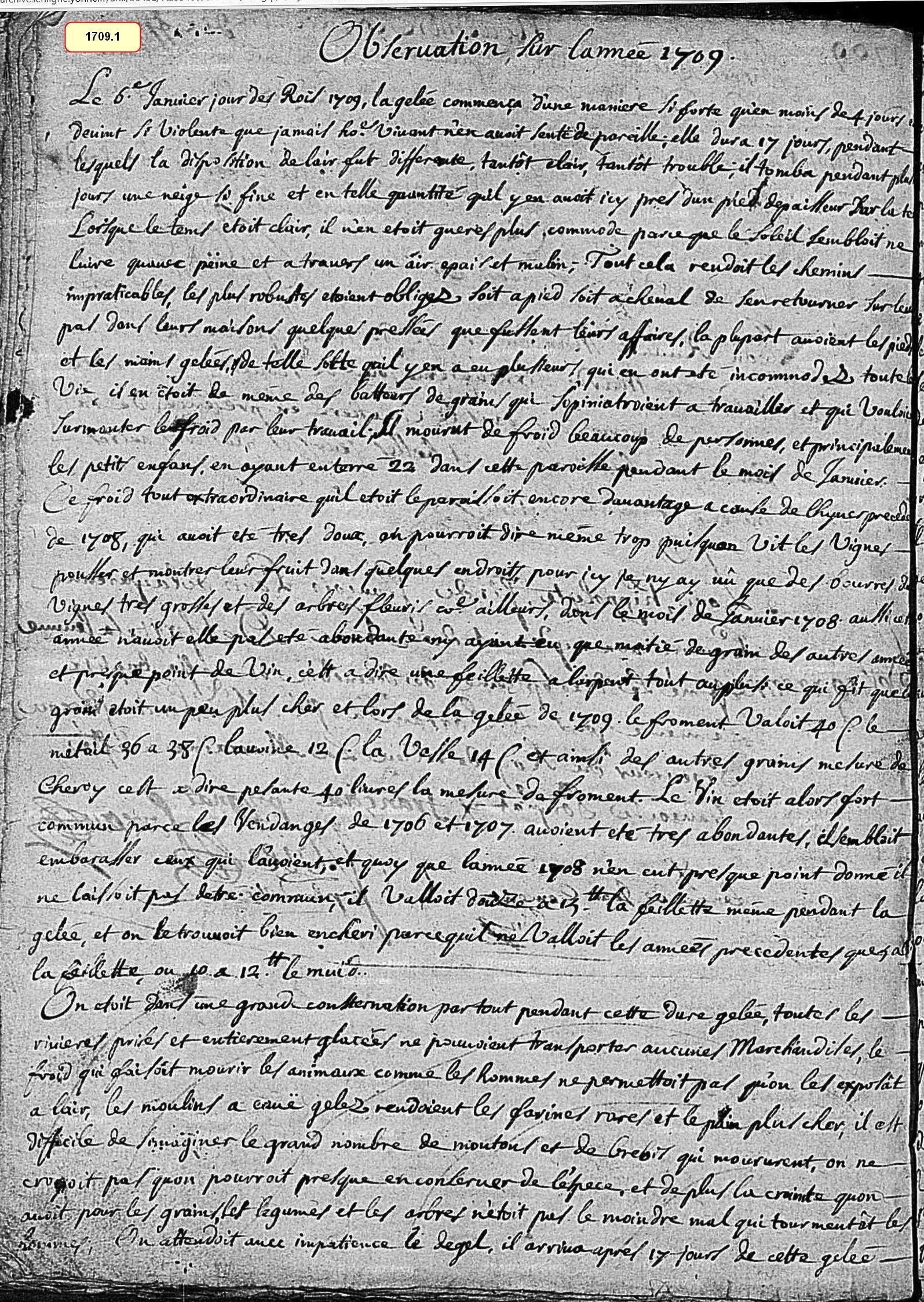 Observation sur l'année 1709 & 1710