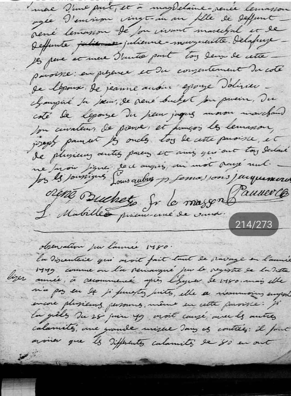 Observation sur l'année 1780