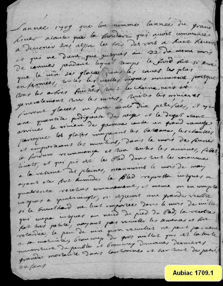 L'hiver 1709 à Aubiac