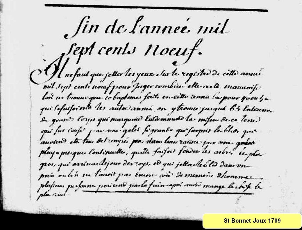 L'hiver 1709 à Saint-Bonnet-de-Joux