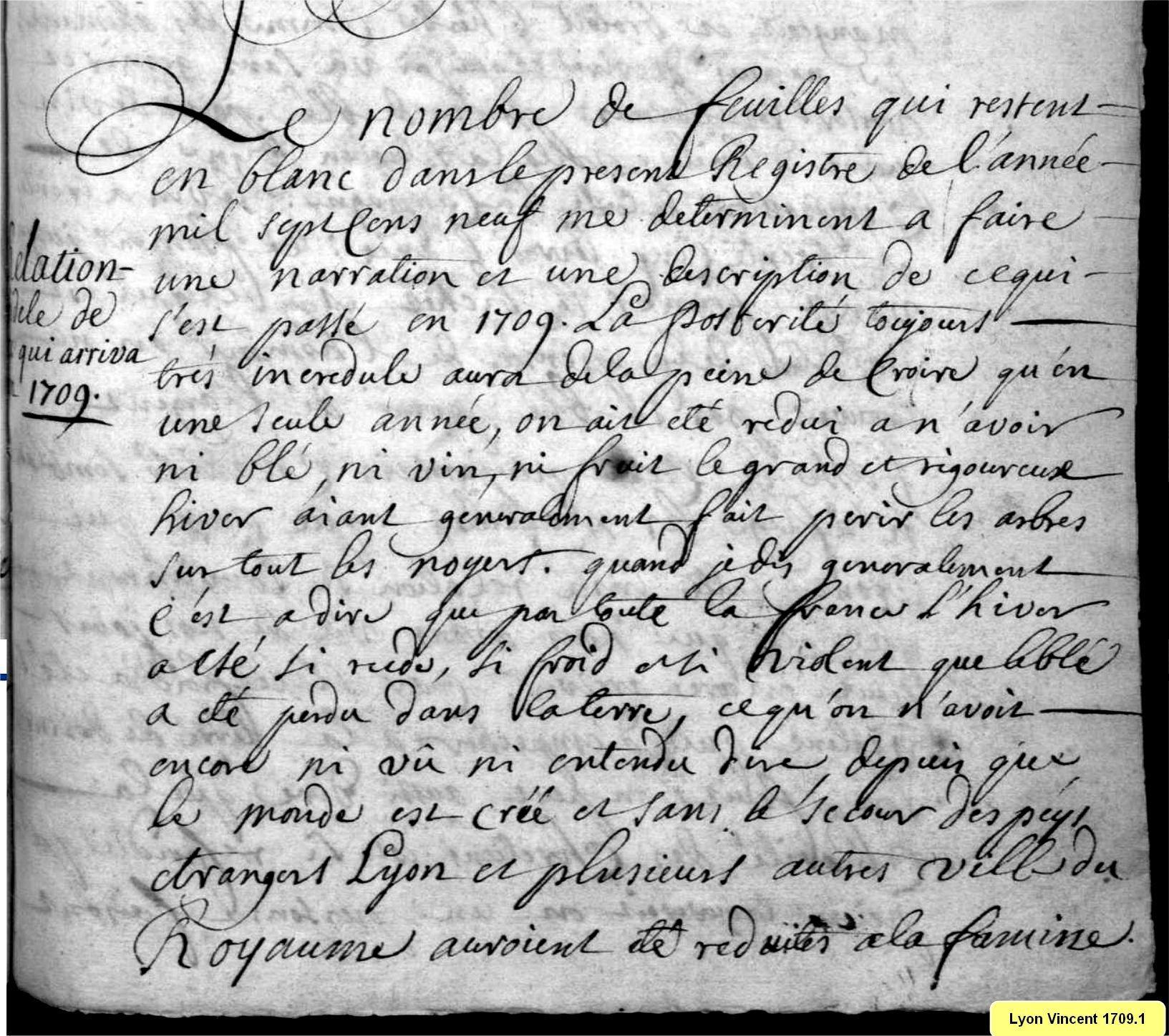 Réflexions du curé sur l'hiver 1709
