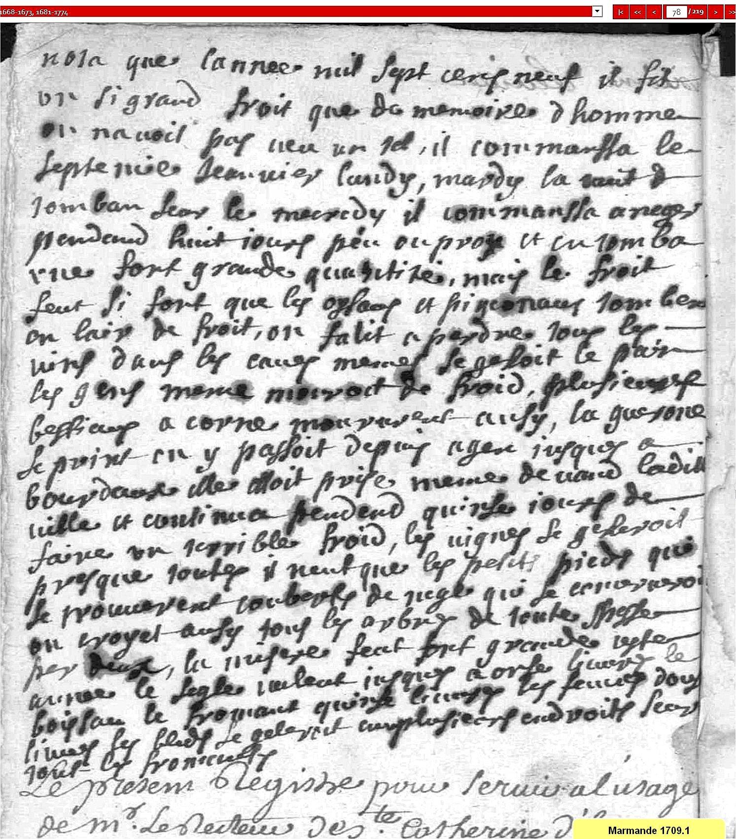 L'hiver 1709 à Marmande