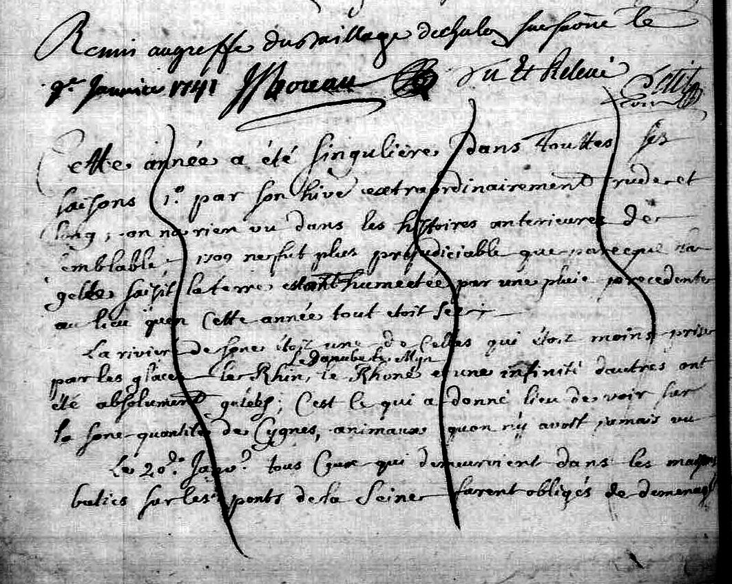 Chronique année 1740 : intempéries, accidents au dégel