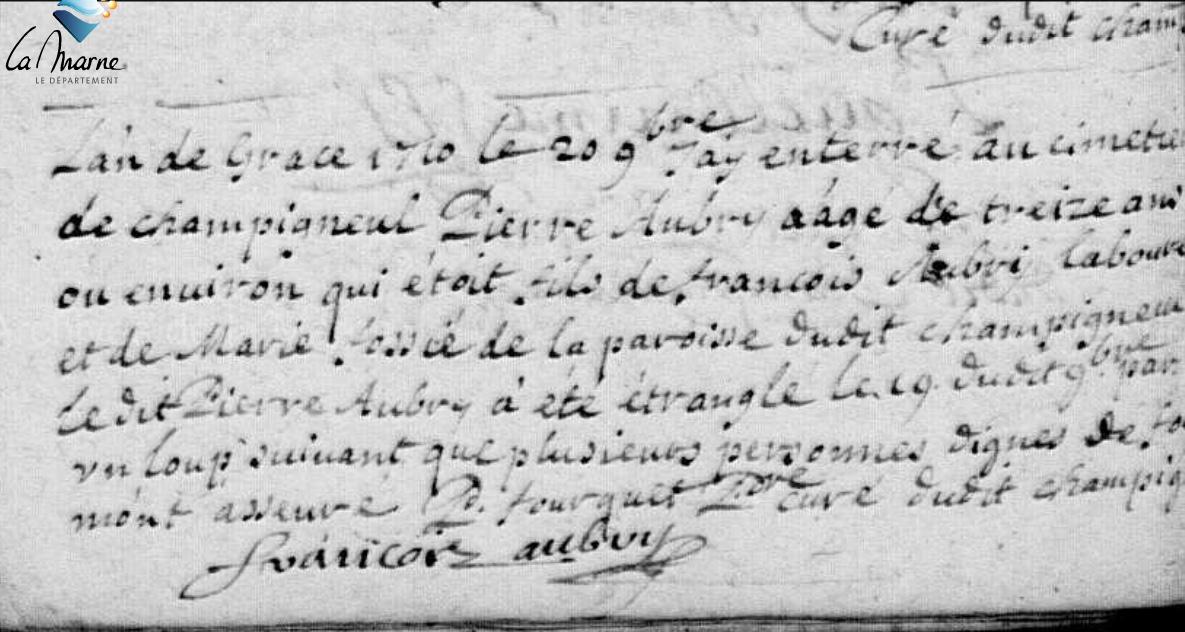 Pierre AUBRY, un adolescent étranglé par un loup