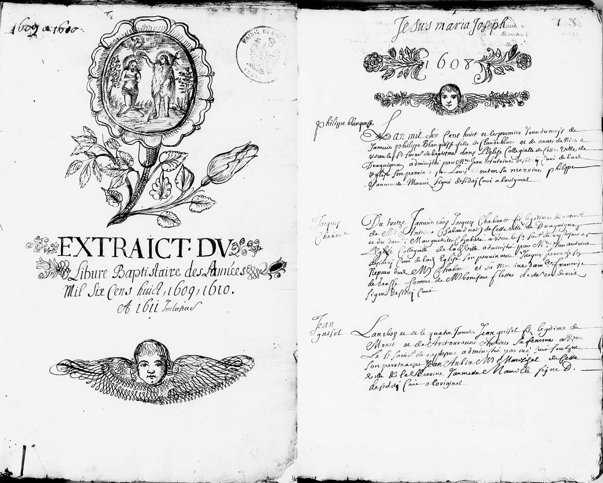 Première et 2ème pages du livre des baptêmes (1608-1611)