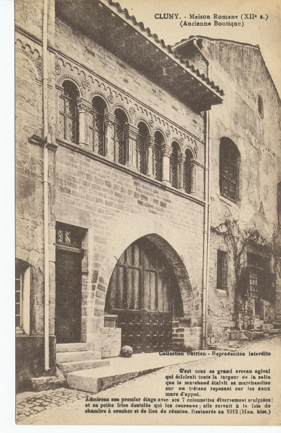 Cluny -  Cluny. Maison romane (XIIe s.) (ancienne boutique). C'est sous ce grand arceau ogival qui éclairait toute la largeur de la salle que le marchand étalait sa marchandise sur un tréteau...