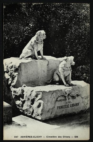Asnières-sur-Seine - [Tombe de Marquise et Tomy à la princesse Lobanof] Cimetière des Chiens