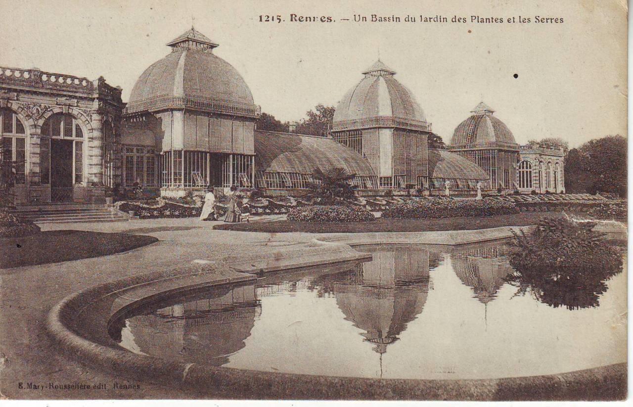 Rennes - Un Bassin du Jardin des Plantes et les Serres - Carte ...