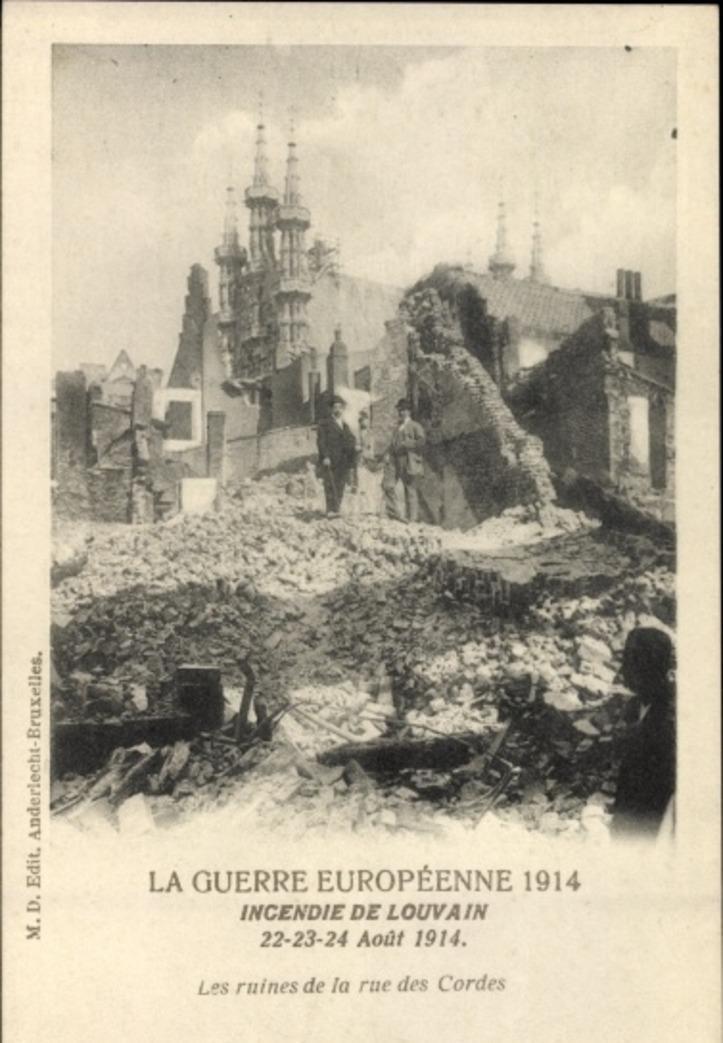 Louvain -  Cp Louvain Leuven Flämisch Brabant, Incendie 22 Août 1914, Les ruines de la rue des Cordes