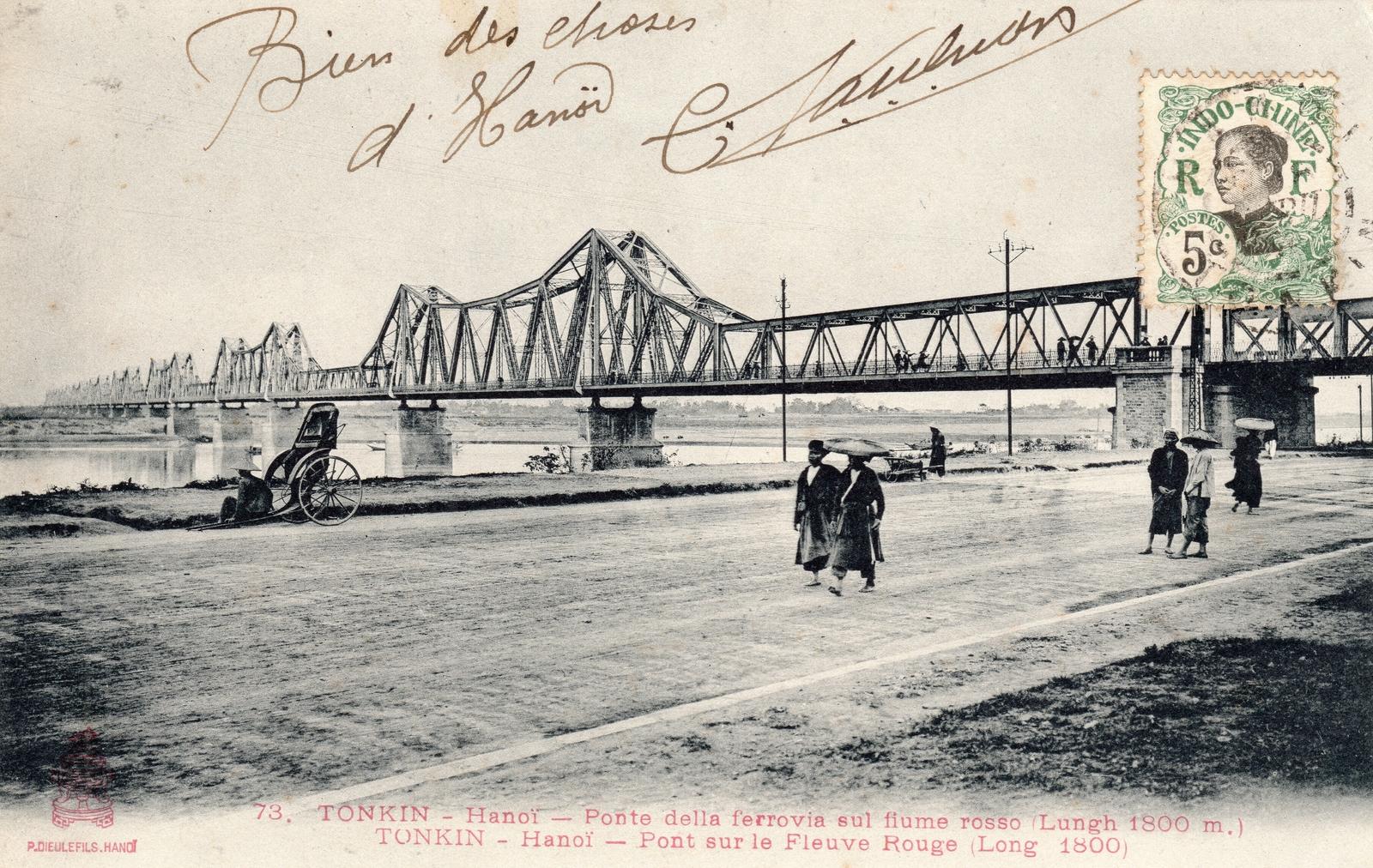 Hanoï -  TONKIN-Hanoï-Pont sur le Fleuve Rouge (long 1800 mêtres)