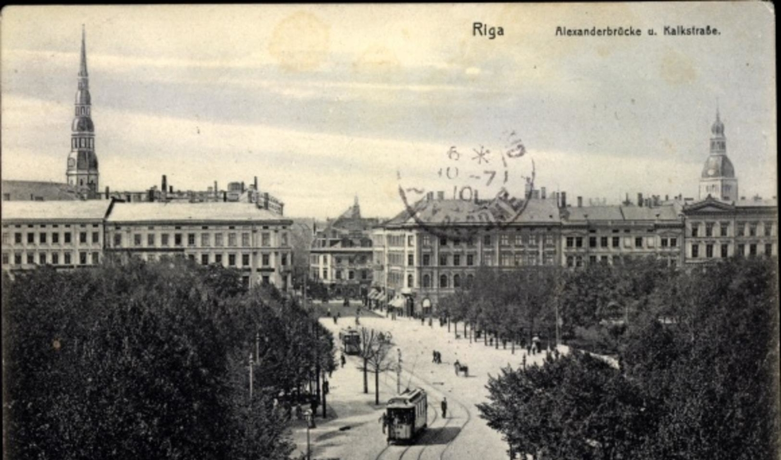 Riga -  Cp Riga Lettland, Alexanderbrücke und Kalkstraße