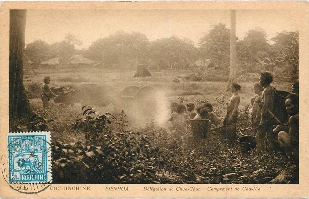 -  VIET NAM . COCHINCHINE . DELEGATION DE CHUA CHAN . CAMPEMENT DE CHO MA  . ANIMEE . 1927 .