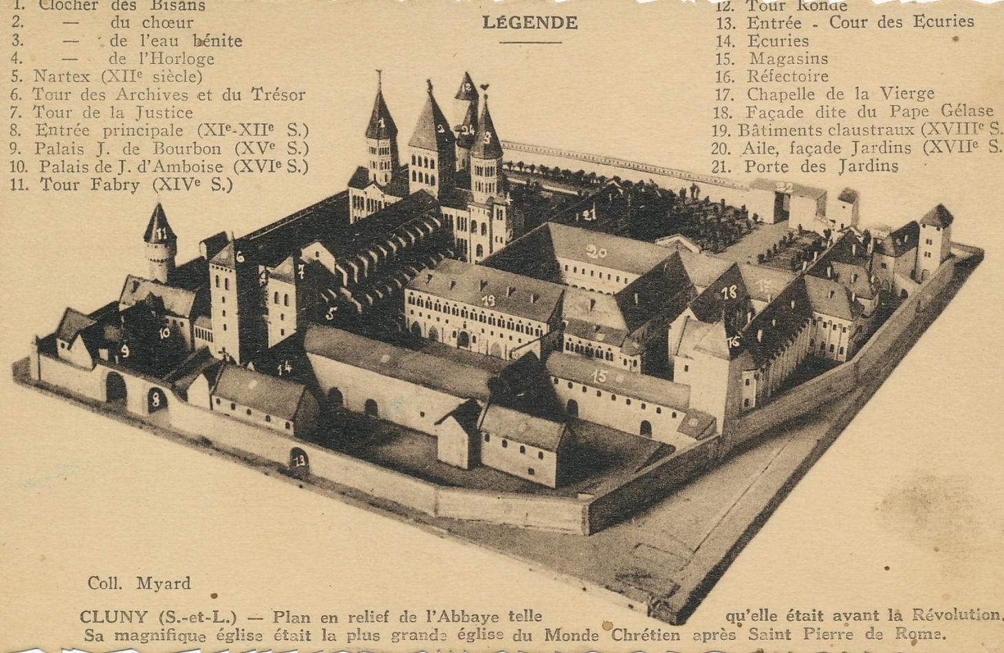 Cluny - Cluny. Plan en relief de l'abbaye telle qu'elle était avant la Révolution. Sa magnifique église était la plus grande église du monde chrétien après Saint-Pierre de Rome.