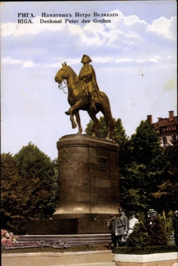 Riga -  Cp Riga Lettland, Denkmal Peter des Großen, Gesamtansicht, Soldat