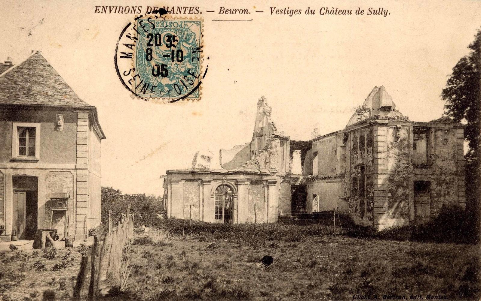 """Perdreauville - CHÂTEAU DE BEURON : Au XIIIème siècle, Beuron n'est pas un fief, mais seulement un bois. Une allée pavée conduit aux vestiges de l'ancien château de Beuron, construit par les seigneurs de Rosny.Ruinés pendant la guerre de Cent Ans, ils ne peuvent restaurer leur château avant le XVIIème siècle.Maximilien de Béthune, futur Sully, y naît le 13 décembre 1559 et y vient souvent se reposer. Du château, berceau de Sully, il ne reste que quelques ruines. Par contre, on peut toujours voir le """"chêne Mademoiselle"""" planté dans le parc en l'honneur de Gabriel d'Estrées, maîtresse d'Henri IV, pour fêter la bataille d'Ivry remportée par le roi en 1590."""