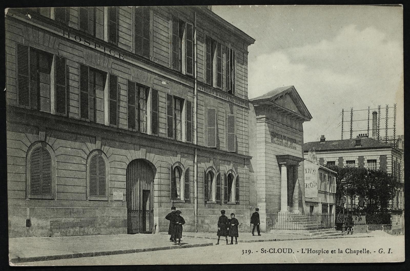 Saint-Cloud - L'Hospice et la Chapelle - Carte postale ancienne et vue  d'Hier et Aujourd'hui - Geneanet