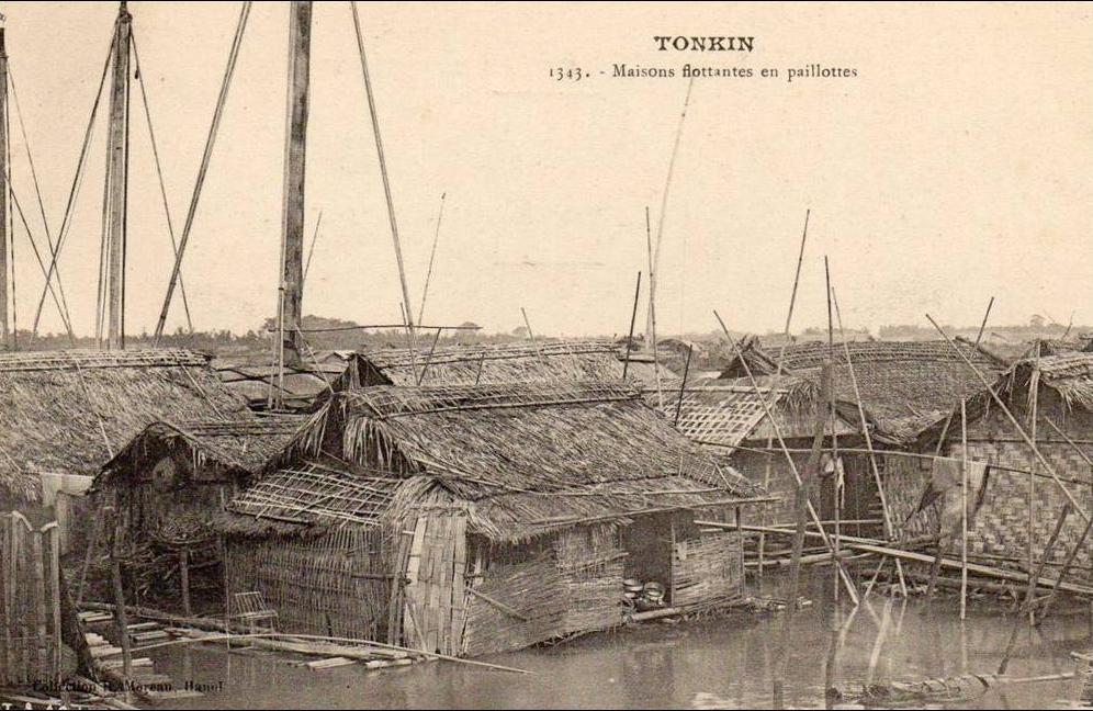 -  tonkin - maisons flottantes  en paillotes