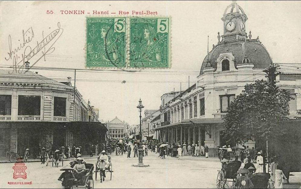 Hanoï -  VIET NAM . TONKIN . HANOÏ . RUE PAUL BERT . CPA ANIMEE . 1908.