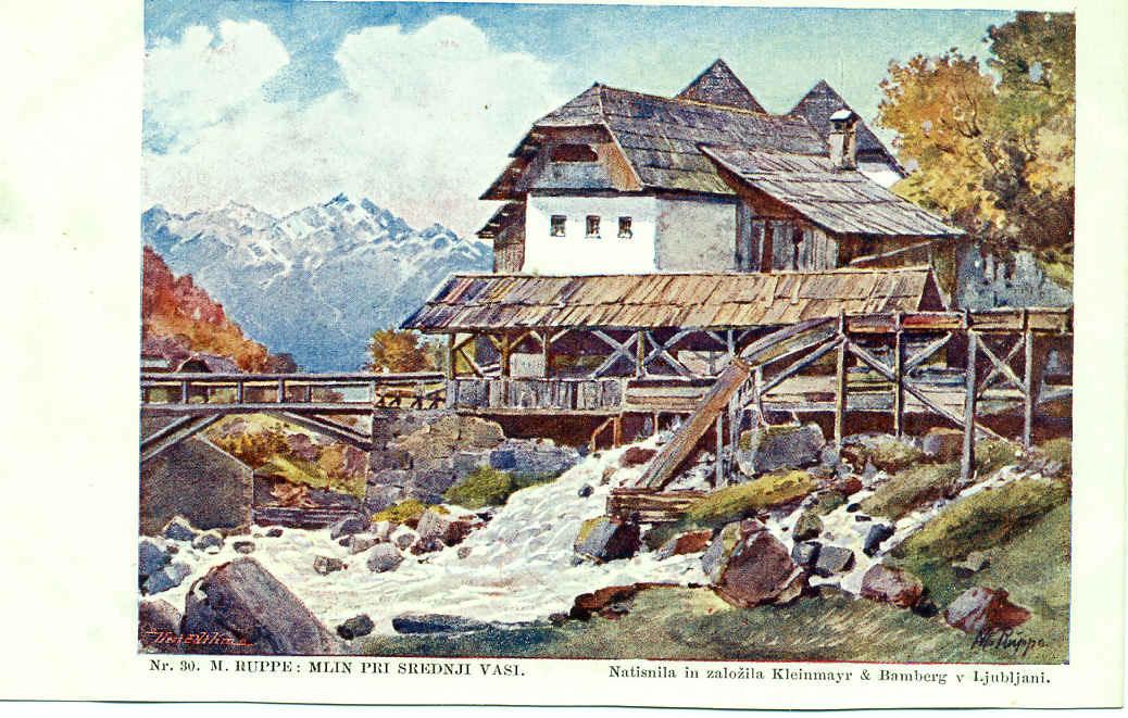 -  paysage champêtre avec moulin