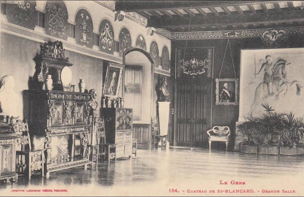 Saint-Blancard - ST BLANCARD-Rare cliché de 1910 de l'intérieur du chateau.tbetat