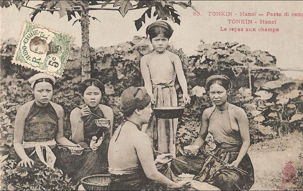 -  Carte Postale  INDOCHINE :      TONKIN   -    Hanoî -  Le  repas  aux  champs