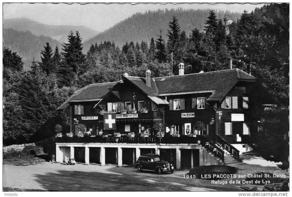 Châtel-Saint-Denis - District de  La Veveyse. Le refuge de la Dent-de-Lys est devenu un Hôtel-Restaurant, Tea-Room, Epicerie, avec un bureau de poste. Il était tenu par Léon CHASSOT  (1906-1973).