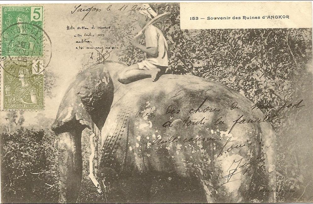 -  Viet-nam  -Souvenir des ruines d´Angkor elephant - numero 153 editeur plante -