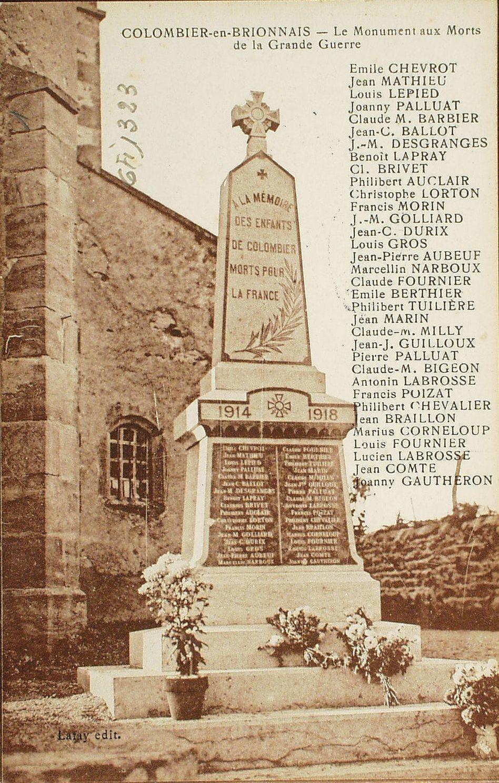 Cluny -  Colombier-en-Charollais. Le monument aux morts de la Grande Guerre.
