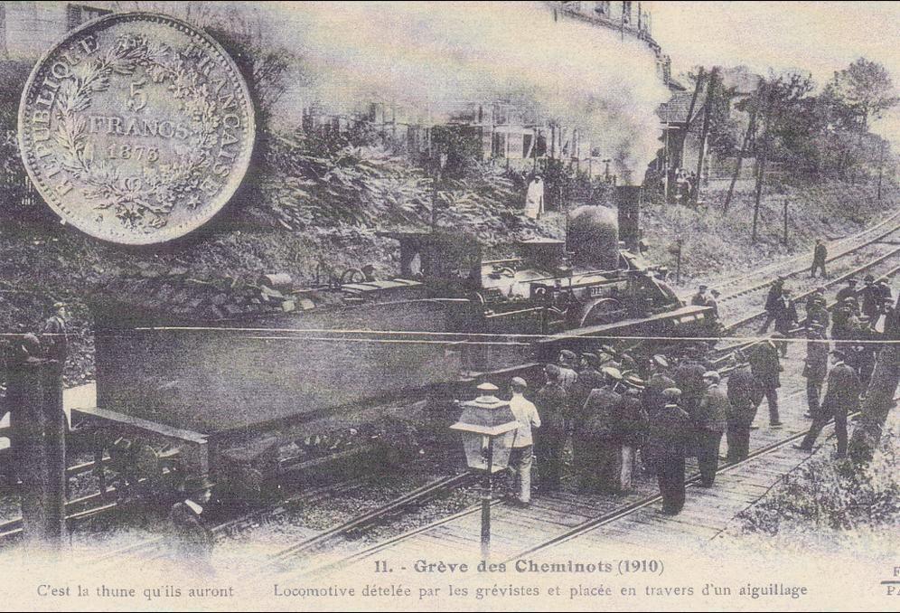 -  TRAIN Gréve des Cheminots 1910 .Copie moderne