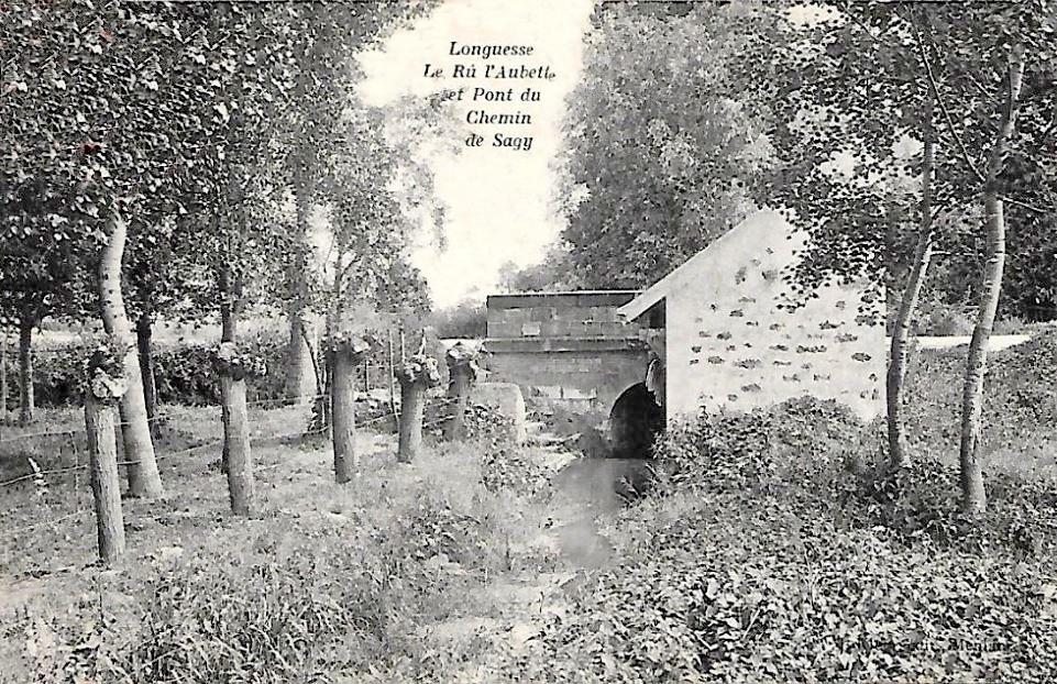 Longuesse - Le Rû, l'Aubette et le pont du chemin de Sagy.