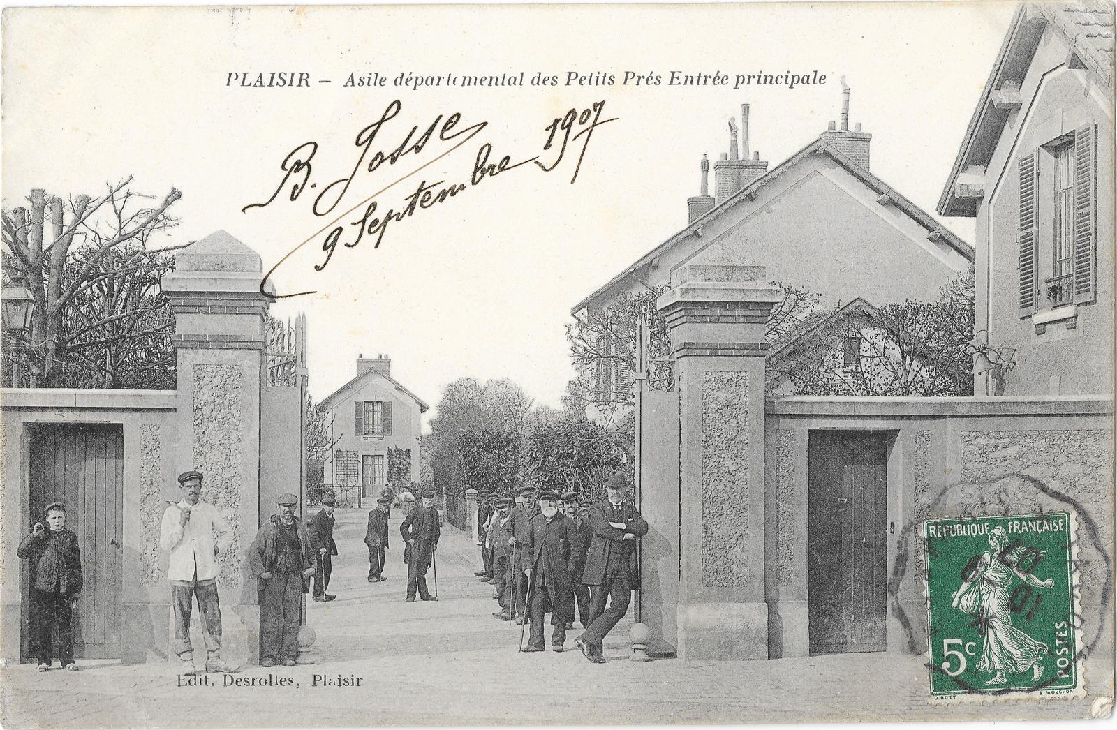 Plaisir -  Plaisir (78) - Asile départemental des Petits Près - Entrée principale - Affranchie en 1907