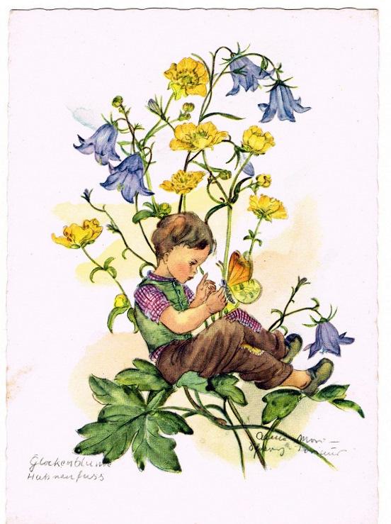 -  Dessin ,petit garçon au papillon dans les fleurs.Datée de 1958
