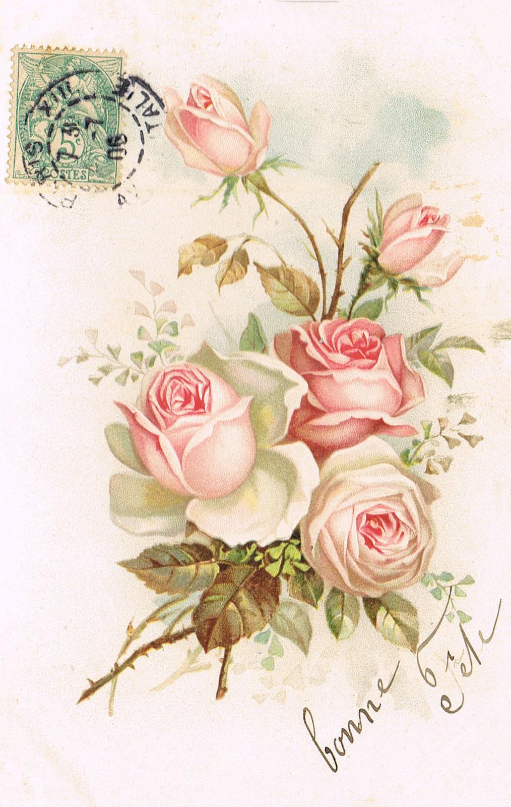 """Cpa """" Bonne Fête """" - fleurs - 5 roses - carte postée en 1906 - - Carte postale ancienne et vue d ..."""
