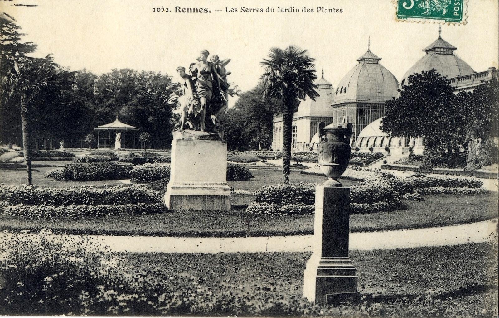 Rennes - Les serres du jardin des plantes - Carte postale ...