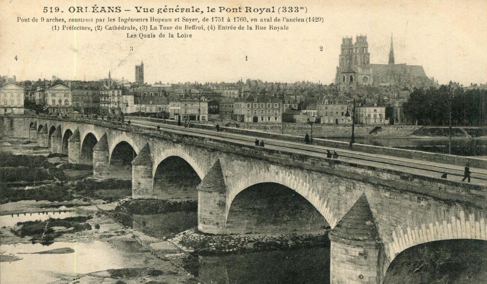 Orléans - ORLEANS -VUE GENERALE - PONT ROYAL - Carte postale ancienne et  vue d'Hier et Aujourd'hui - Geneanet