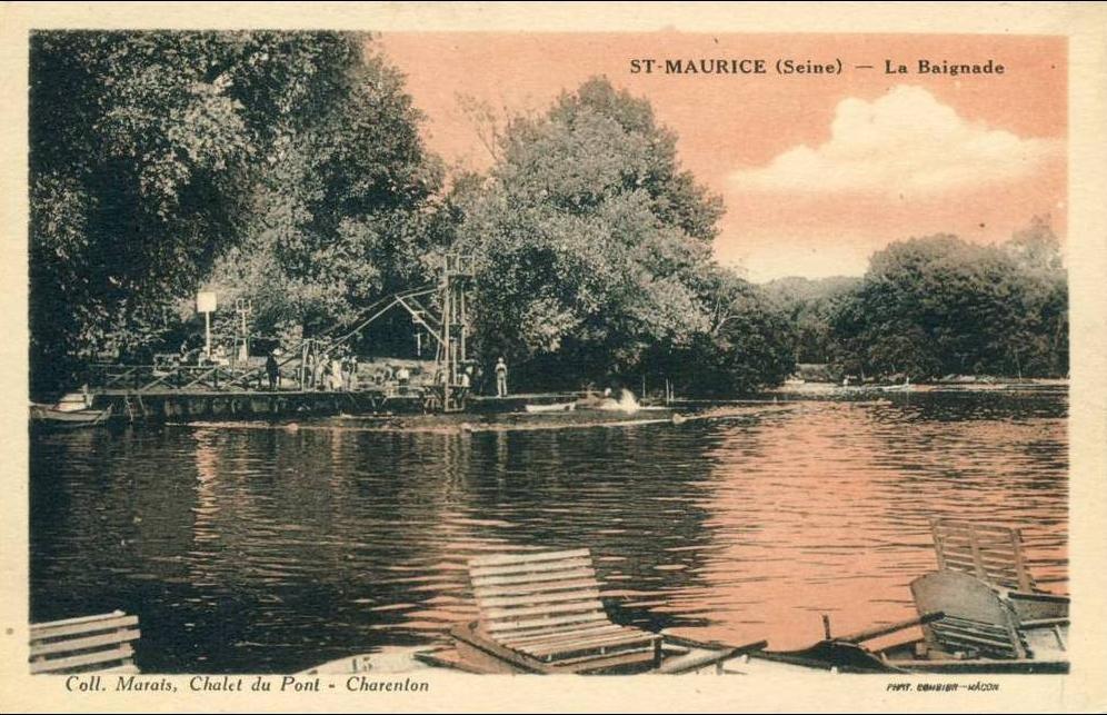 Saint Maurice - Saint-Maurice  La Baignade  cpa