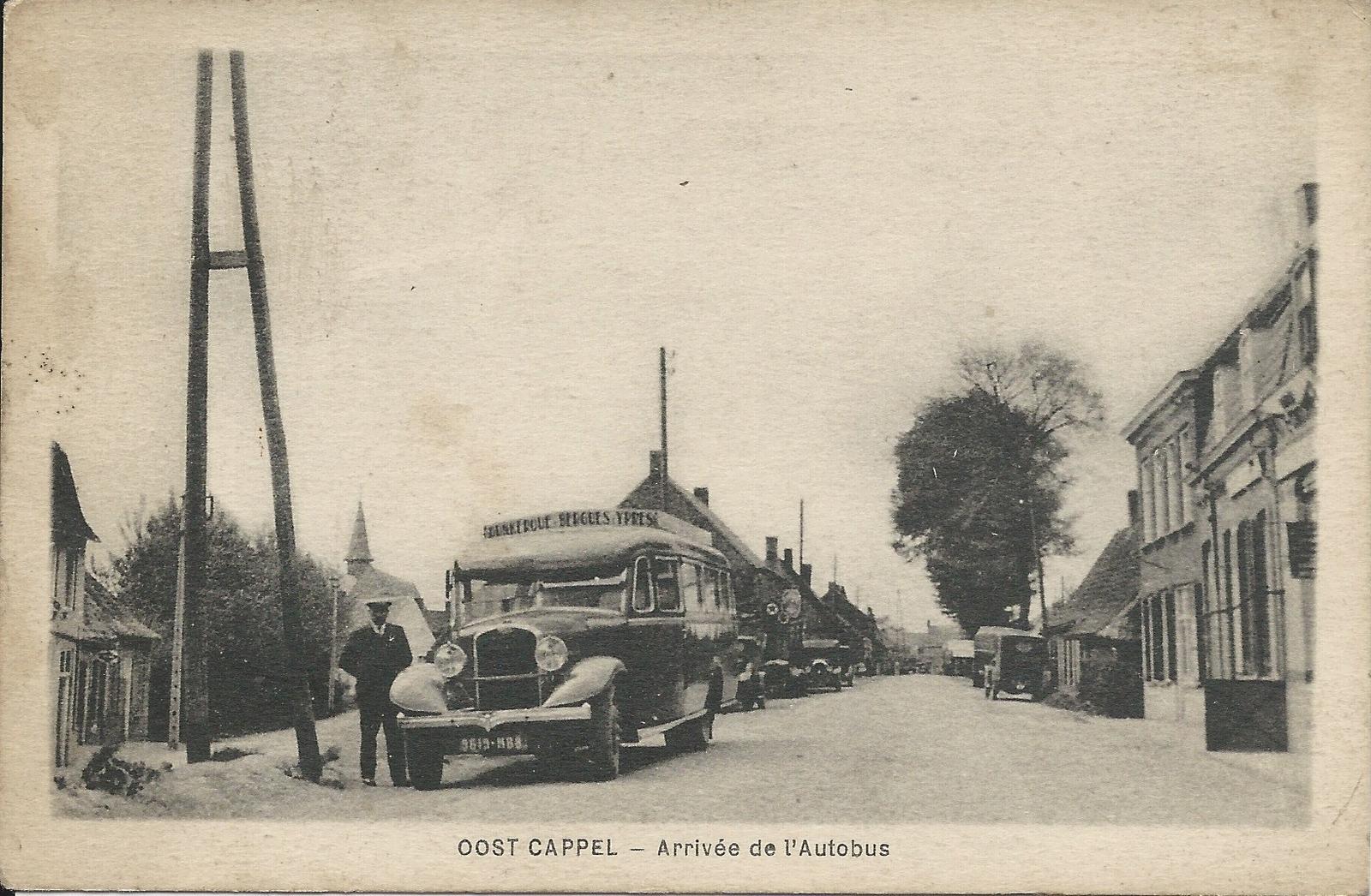 Oost-Cappel - Les bus traversant les frontières existaient il y a plus de  80 ans déjà . - Carte postale ancienne et vue d'Hier et Aujourd'hui -  Geneanet