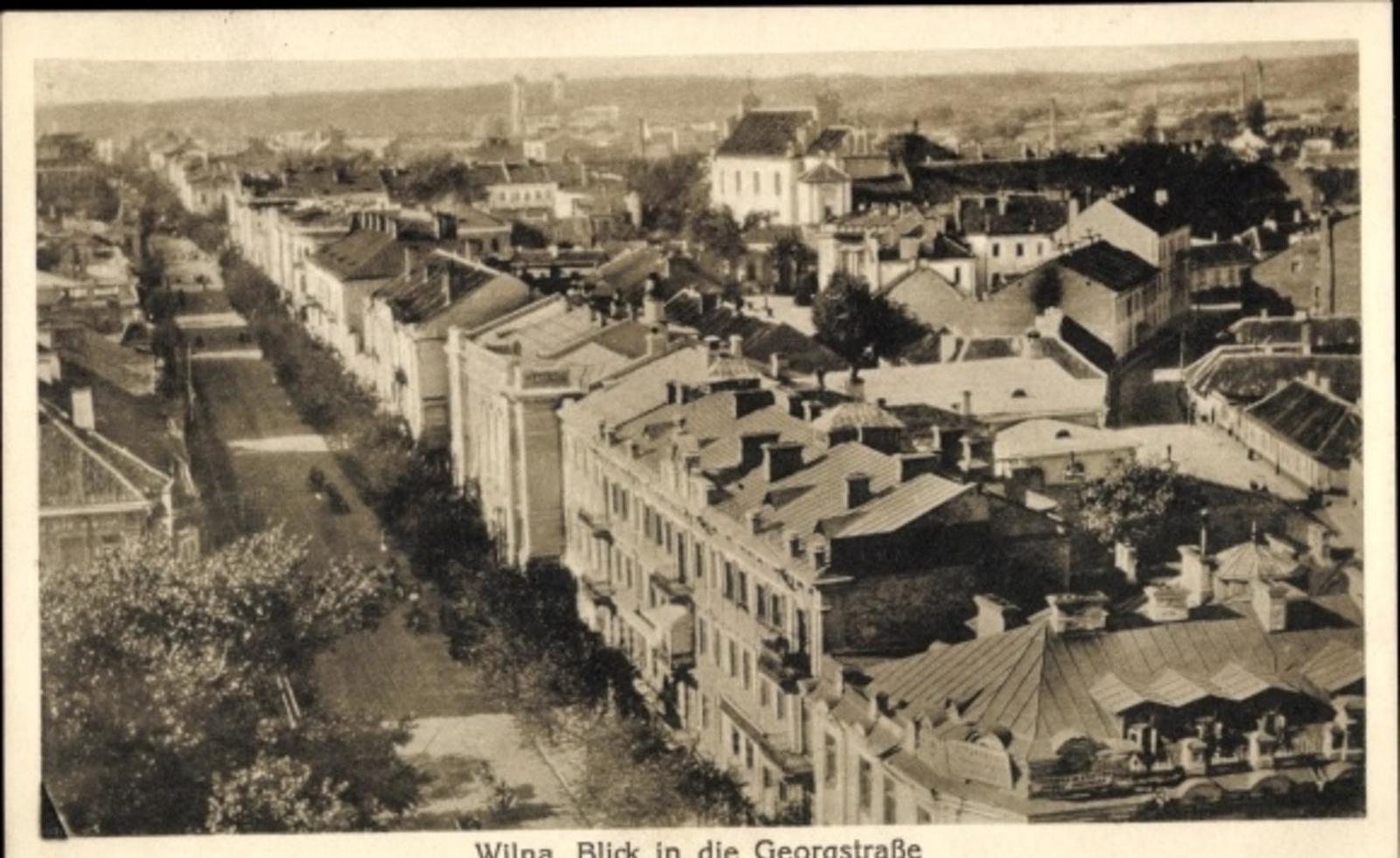 Vilnius -  Cp Vilnius Wilna Litauen, Blick in die Georgstraße über die Dächer der Stadt