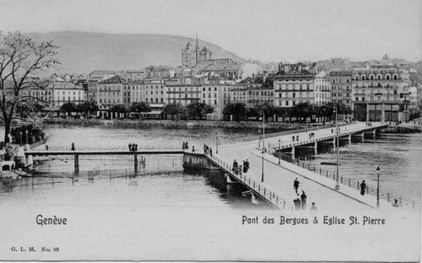 Geneve - Pont des Bergues et Eglise St Pierre