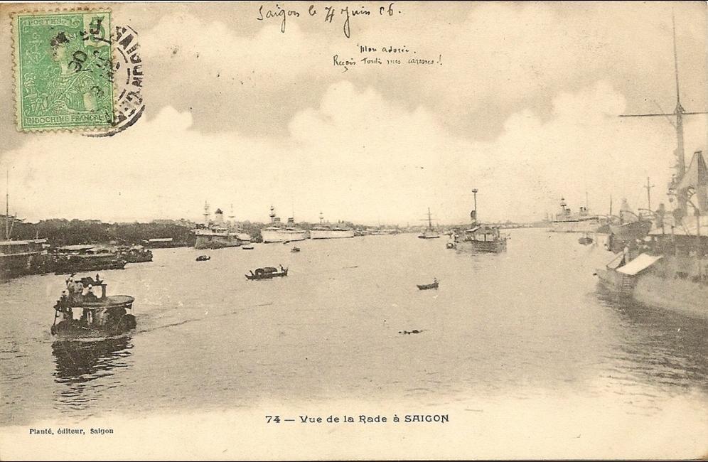 Ho-Chi-Minh -  Viet-nam  - Vue de la rade a Saigon -  numero 74 éditeur plante - (bateau)