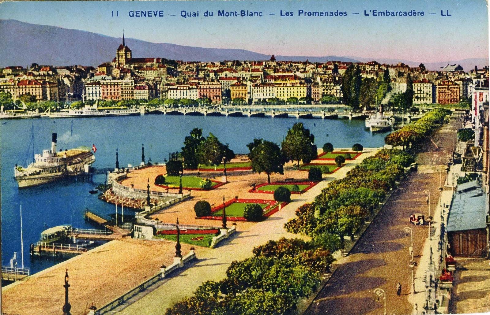 Genève - Quai du Mont Blanc - Les promenades - L'embarcadère.