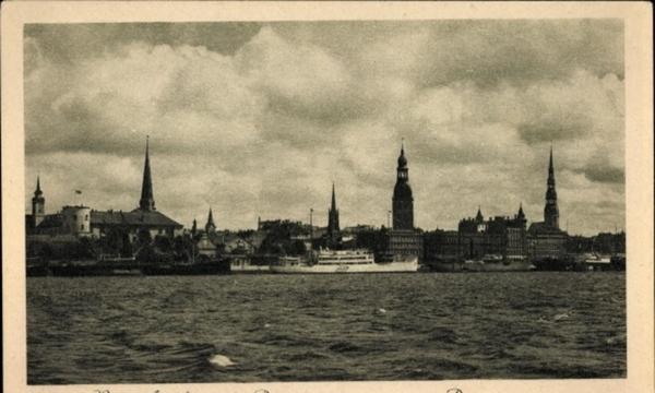 Riga - Cp Riga Lettland, Ansicht von der Düna, Blick zum Ort, Kirchtürme