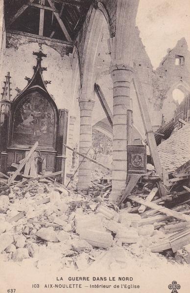 Aix-Noulette - église d'Aix - Noulette  son intérieur en ruines